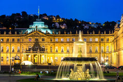 Stuttgart city center, Germany at dusk. Fountain at neues Schloss New palace in Stuttgart city center, Germany at dusk stock photos