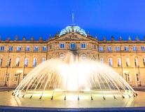 Stuttgart city center, Germany at dusk. Fountain at neues Schloss New palace in Stuttgart city center, Germany at dusk Stock Images