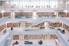 Stuttgart City Library Interior Modern European Architecture Fam. Ous October 14, 2017 Stock Image