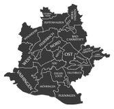 Stuttgart city map Germany DE labelled black illustration. Stuttgart city map Germany DE labelled black Royalty Free Stock Photos