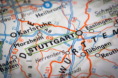 Stuttgart. City on a road map Stock Image