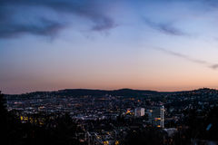 Stuttgart Cityscape Landscape Capital City Baden Wuerttemberg Da. Y Night Sky Buildings Far TV Tower Hills Kessel Stock Images