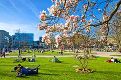 Stuttgart in de lente Stock Fotografie