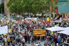 Stuttgart 21 - Demonstraci spotkania protesty przeciw Turcja Obraz Stock