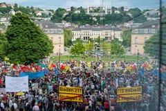 Stuttgart 21 - Demonstraci spotkania protesty przeciw Turcja Fotografia Royalty Free