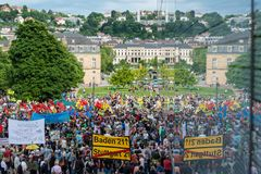 Stuttgart 21 - Demonstration meeting protests against Turkey Royalty Free Stock Photography