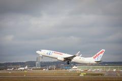 Stuttgart, Duitsland - Februari 3, 2018: Boeing-vliegtuig 737-800 van AirEuropa royalty-vrije stock afbeelding