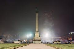 Stuttgart Fireworks Schlossplatz Smoke New Year Celebration Ominous Fog Night Spotlights Explosions Fire 2016 2017 stock photo