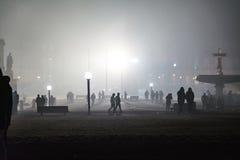 Stuttgart Fireworks Schlossplatz Smoke New Year Celebration Ominous Fog Night Spotlights Explosions Fire 2016 2017 stock photos