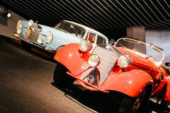 Stuttgart, Gemany - 03 31 2013: Mercedes-Benz Museum, exhibits and details royalty free stock photography