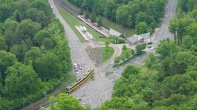 Stuttgart, Germany. Aerial view of the road crossing with the subway line. Aerial view stock video