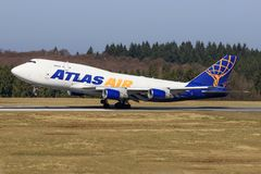 Stuttgart /Germany : BBoeing 747 d'atlas Image libre de droits