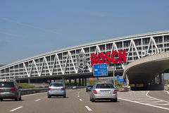 Stuttgart,Germany - Carpark bridge over A8 highway with Bosch ad Stock Image
