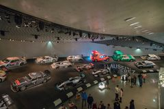 STUTTGART, GERMANY - DECEMBER 30, 2018: Interior of museum. `Mercedes Benz Welt `. The museum covers the history of the Mercedes-Benz and the brands associated stock image