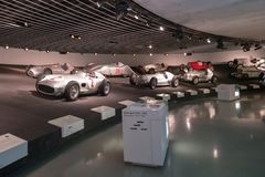 STUTTGART, GERMANY - DECEMBER 30, 2018: Interior of museum. `Mercedes Benz Welt `. The museum covers the history of the Mercedes-Benz and the brands associated stock photography