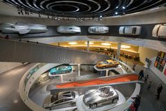 STUTTGART, GERMANY - DECEMBER 30, 2018: Interior of museum. `Mercedes Benz Welt `. The museum covers the history of the Mercedes-Benz and the brands associated royalty free stock photos