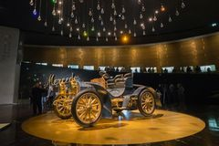 STUTTGART, GERMANY - DECEMBER 30, 2018: Interior of museum. `Mercedes Benz Welt`. The museum covers the history of the Mercedes-Benz and the brands associated stock photography