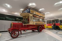 STUTTGART, GERMANY - DECEMBER 30, 2018: Interior of museum. `Mercedes Benz Welt`. The museum covers the history of the Mercedes-Benz and the brands associated stock image