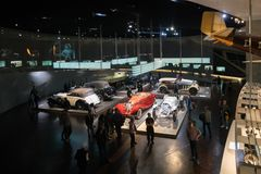 STUTTGART, GERMANY - DECEMBER 30, 2018: Interior of museum. `Mercedes Benz Welt`. The museum covers the history of the Mercedes-Benz and the brands associated stock images