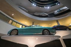 STUTTGART, GERMANY - DECEMBER 30, 2018: Interior of museum. `Mercedes Benz Welt`. The museum covers the history of the Mercedes-Benz and the brands associated royalty free stock photo