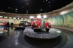 STUTTGART, GERMANY - DECEMBER 30, 2018: Interior of museum. `Mercedes Benz Welt `. The museum covers the history of the Mercedes-Benz and the brands associated royalty free stock image