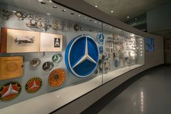 STUTTGART, GERMANY - DECEMBER 30, 2018: Interior of museum. `Mercedes Benz Welt `. The museum covers the history of the Mercedes-Benz and the brands associated stock images