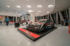 STUTTGART, GERMANY - DECEMBER 30, 2018: Interior of museum. `Mercedes Benz Welt `. The museum covers the history of the Mercedes-Benz and the brands associated stock photos