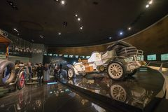 STUTTGART, GERMANY - DECEMBER 30, 2018: Interior of museum. `Mercedes Benz Welt`. The museum covers the history of the Mercedes-Benz and the brands associated royalty free stock photography