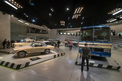 STUTTGART, GERMANY - DECEMBER 30, 2018: Interior of museum. `Mercedes Benz Welt`. The museum covers the history of the Mercedes-Benz and the brands associated stock photo