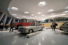 STUTTGART, GERMANY - DECEMBER 30, 2018: Interior of museum. `Mercedes Benz Welt`. The museum covers the history of the Mercedes-Benz and the brands associated stock photos