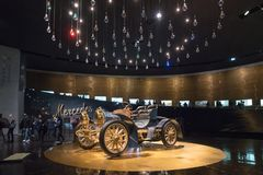 STUTTGART, GERMANY - DECEMBER 30, 2018: Interior of museum. `Mercedes Benz Welt`. The museum covers the history of the Mercedes-Benz and the brands associated royalty free stock image