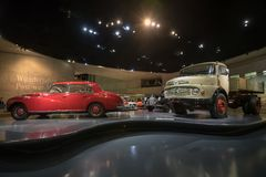 STUTTGART, GERMANY - DECEMBER 30, 2018: Interior of museum. `Mercedes Benz Welt`. The museum covers the history of the Mercedes-Benz and the brands associated royalty free stock images