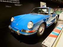 Stuttgart, GERMANY - DECEMBER 29, 2018: Old and new cars exhibit in the Porsche museum in Stuttgart, Germany. Stuttgart, GERMANY - DECEMBER 29, 2018: Old and stock photo
