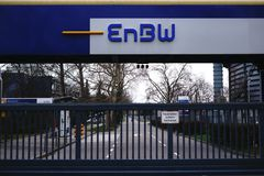 EnBW Energy Baden-Württemberg AG. Stuttgart, Germany - February 03, 2018: The monitored entrance gate of the electricity and gas provider EnBW of Energy Royalty Free Stock Image