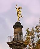 Stuttgart, Germany golden Hermes statue. Stuttgart, Germany - golden Hermes statue on a column near Schlossplatz royalty free stock image