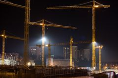 Construction site of Stuttgart 21 at night Royalty Free Stock Image