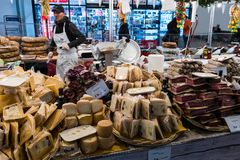 Point of sale Vita-Italiana of Italian delicacies cheeses, sausages at the central railway station. royalty free stock image