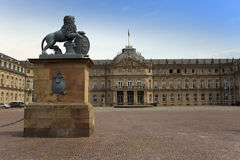 STUTTGART,GERMANY- MAY 31, 2012:  Lion sculpture with crest in front of the main entrance of the New Castle Neues Schloss in Ger Royalty Free Stock Photos