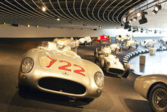 STUTTGART,GERMANY- MAY 31, 2012:  racing cars hall in Mercedes museum. STUTTGART,GERMANY- MAY 31, 2012: racing cars hall in Mercedes museum Stock Photo