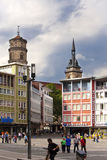 STUTTGART,GERMANY- MAY 31, 2012: Street scene at Market Place with houses and Abbey Church Stiftskirche in the background Stock Photography