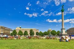 Stuttgart, Germany -  Public park in town square called `Schlossplatz` in old city center on sunny day