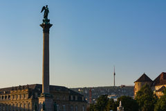 Stuttgart Germany Victory Column TV Tower Schlossplatz Castle City Center Sunrise Royalty Free Stock Photos