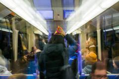 Stuttgart Girl Partying Party Hat Celebrationn Subway Blurry Drunk New Years Group Lights Abstract 2016 2017 stock image