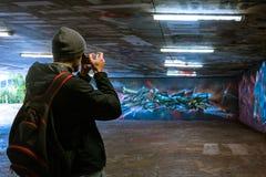 Stuttgart Graffitti Underground Hall of Fame Beautiful Walls Murals Street Grunge Area Flourescent Lights Famous Destination. November 5 2017 royalty free stock photo