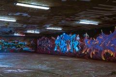 Stuttgart Graffitti Underground Hall of Fame Beautiful Walls Murals Street Grunge Area Flourescent Lights Famous Destination. November 5 2017 royalty free stock image