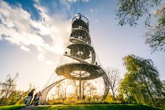Stuttgart Killegsberg Park Tower Landmark Monument Architecture. Sunset Autumn Season Beautiful Wide Angle Visitor View October 29 2017 Stock Images