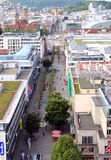 Stuttgart Koenigstrasse. This is Stuttgart's main shopping street seen from the tower of the central railway station Royalty Free Stock Photography