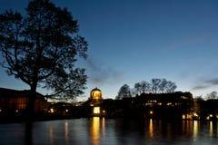 Stuttgart lake in park at night royalty free stock photo