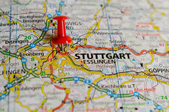 Stuttgart on map. Close up shot of Stuttgart Germany on a map with red push pin Stock Photography