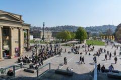 Stuttgart Neues Schloss wiosny 2017 Soboty Midday Piękny Sc obraz royalty free